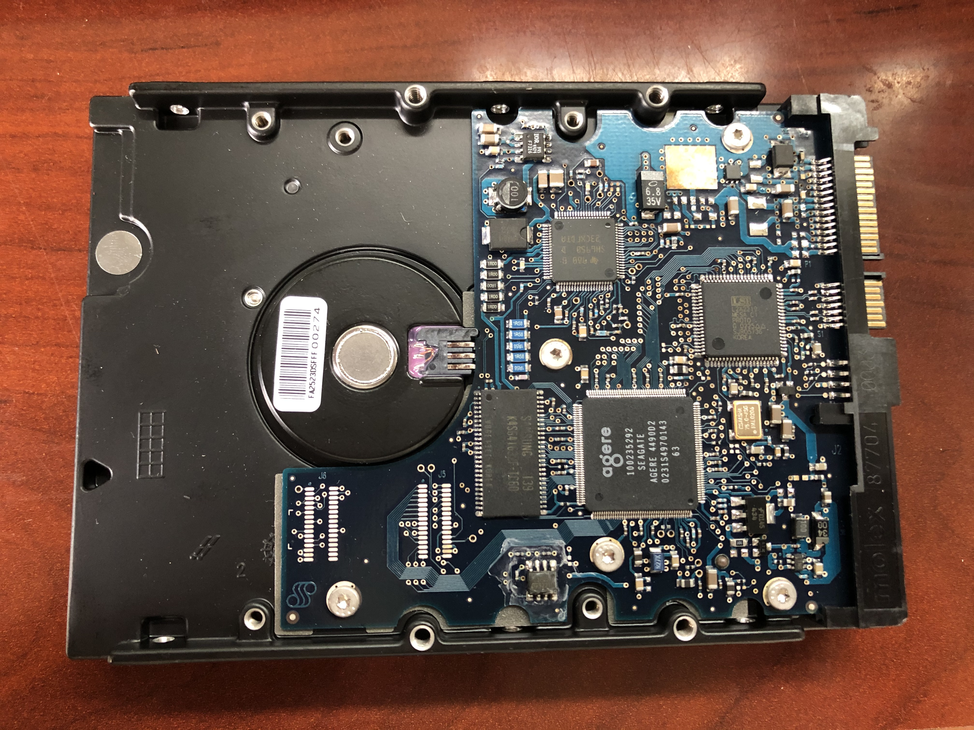 Top view of the first native SATA drive